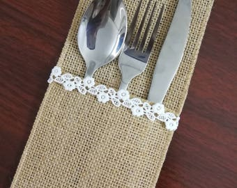 Set of 10-Wedding Table Set,Table Setting,Burlap Silverware Holder,Wedding Rustic Menu,Burlap table decoration,Rustic table decor, - (PY)19