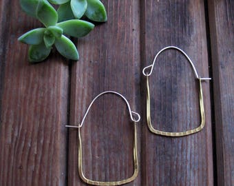Frame Hoops - Brass Hoop Earrings - Square Hoop Earrings - Artisan Tangleweeds Jewelry