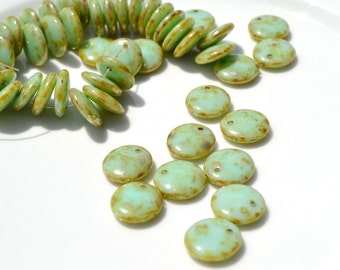 Mint Green Picasso 12mm Lentil Beads  12