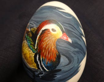 Mandarin duck easter goose egg - handpainted