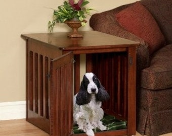 Wooden Dog Crate Puppy End Table in Solid Maple Wood~ Decorative dog crate side table Furniture Amish Made Kennel