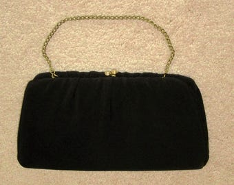 Vintage H L Black Evening Bag Black Cloth Handbag Black Vintage Clutch Purse Dressy Elegant Evening Bag  Classic Vintage Evening Bag