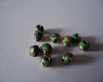 Set of 6mm Green cloisonne beads