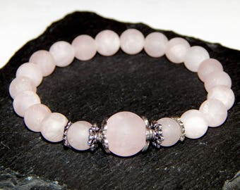 Bracelet ethnic frosted rose quartz stones