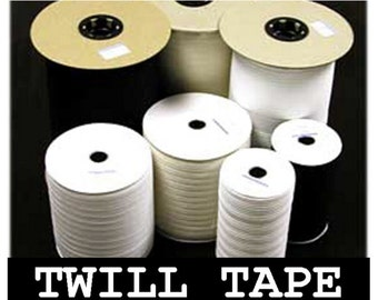 """10 Yards - 1"""" - Lightweight Cotton Twill Ribbon Tape, 1 inch - White, Black or Natural"""
