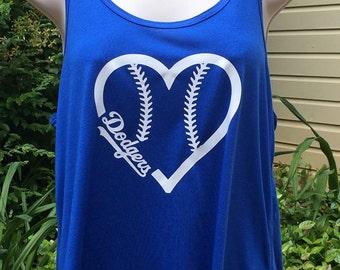 Dodgers baseball heart flowy tank top, LA Dodgers, baseball mom tank, racerback, baseball tank