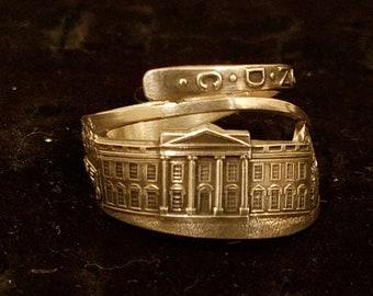 Sterling silver, the White House, Washington DC, souvenir spoon ring