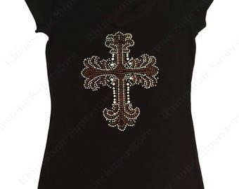 """Women's Rhinestone & Rhinestud T-Shirt """" Brown Cross  """" in S, M, L, 1X, 2X, 3X"""