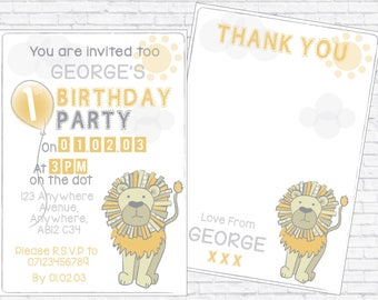 Safari Personalised Birthday Invite with Thank you - DOWNLOADABLE PRINT - A5