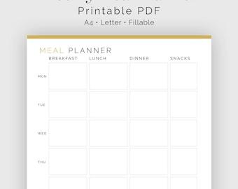 Weekly Meal Planner - Fillable - Printable PDF - Meal Planning, Menu Plan - Household Binder - Instant Download