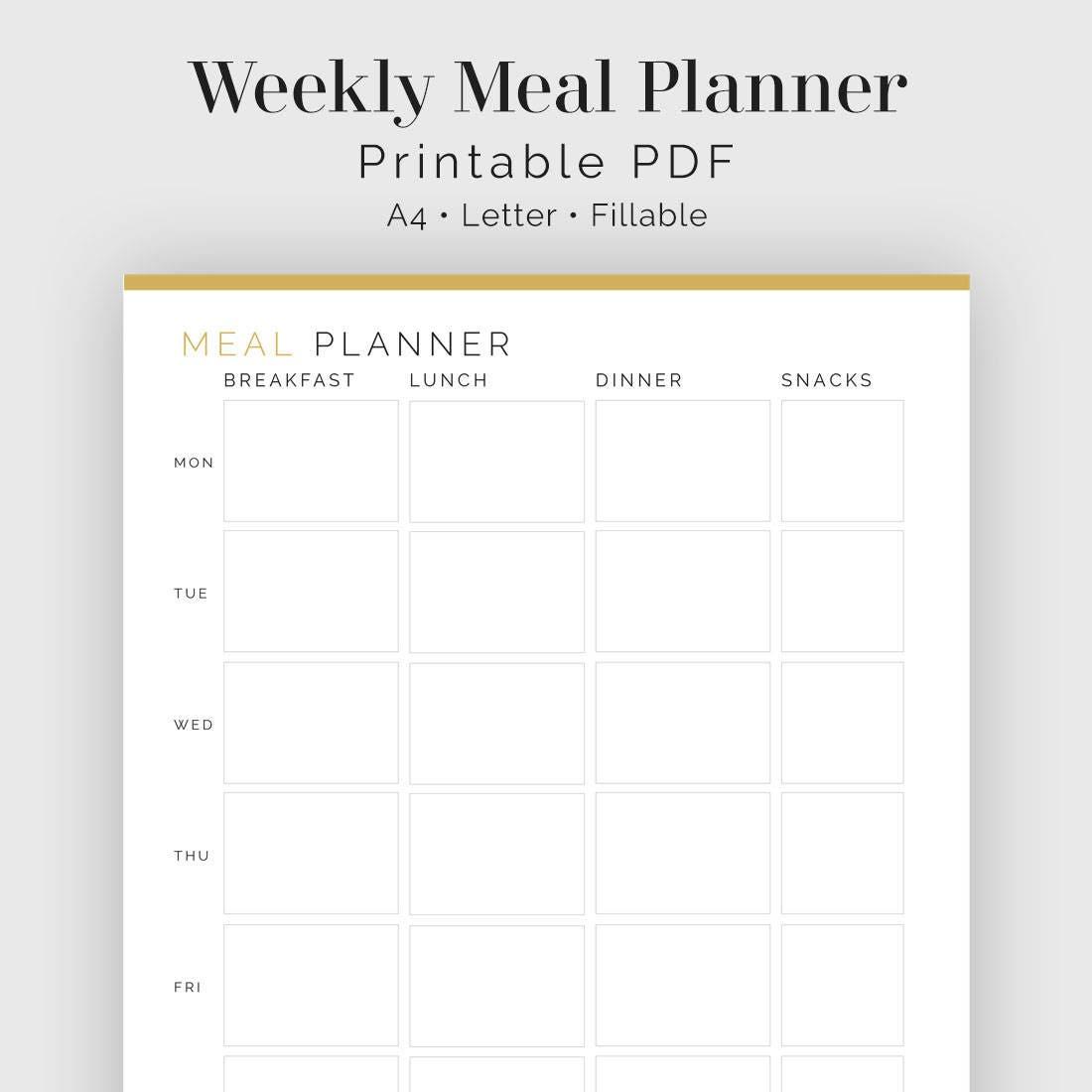 Wöchentliche Mahlzeit Planer ausfüllbaren druckbare PDF
