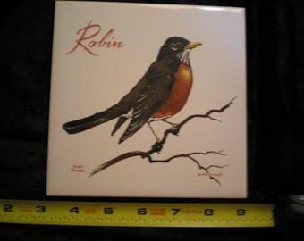 Vintage 1970s Ceramic Bird Tile - Robin    Can be sold Individually