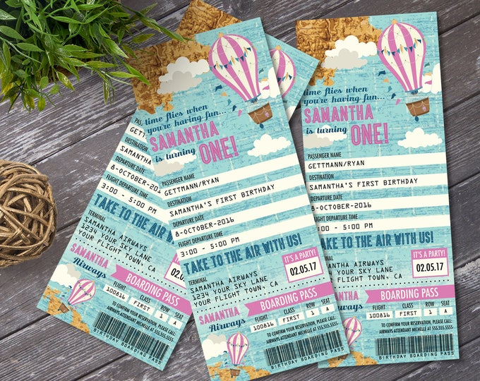 Hot Air Balloon Birthday TICKET Invitation, Map, Pink, 1st Birthday | DIY Instant Download PDF Printable
