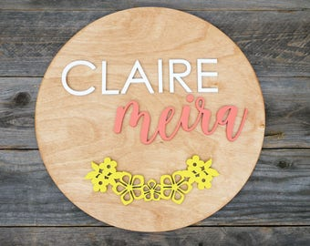 "Custom Name 17"" Floral Wreath Circle Laser Cut Wood Name Sign 