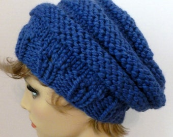 Mens or Womens Hand Knit Beehive Slouch Hat Color Cobalt Blue (H-106)