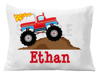 Monster Truck Pillow Case Personalized Pillowcase