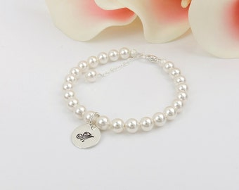 Swarovski Pearl And Stamped Letter Flower Girl Bracelet Flower Girl Gift Personalized Pearl Flower Girl Bracelet Pearl Bracelet