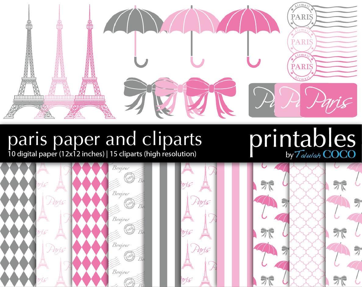 Paris digital scrapbook paper and clipart gray pink journal zoom jeuxipadfo Choice Image