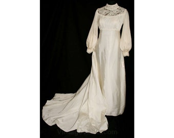 1960s Empire Satin Bridal Gown with Beautiful 4-Ft Detachable Train - Size 8 to 9 - 60s Wedding Dress - New With Tag - Bust 35 - 32784-1