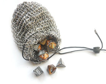 Chainmaille dice bag, For gamers, Aluminum dice bag, Chainmaille pouch