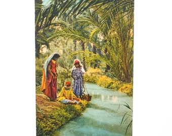Map postcard vintage orientalist North Africa - girls Bedouin beside a river to 1910