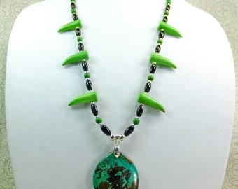 Green and Black Jasper Stone Pendant on a 26.5 inches long Statement Necklace with Green Imitation Talon Beads