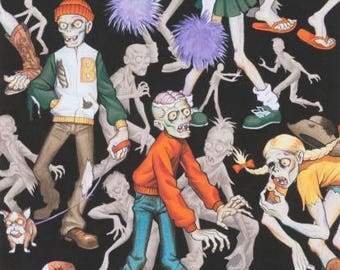 Alexander Henry Zombie High Fabric Zombie Fabric Zombies on Black Fabric High School Zombie Fabric