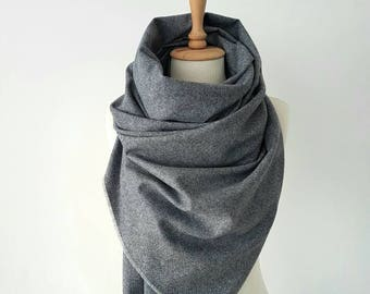 Wool Blanket Scarf - Melange Wool shawl - Oversized Winter scarf - Wool Clothing - Woman Scarf - Men Scarf - Navy Blue Grey Tweed Scarf