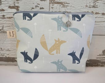 Cotton canvas clutch or Make up bag, Little Fox -  bridesmaid gifts by Darby Mack, made in the USA