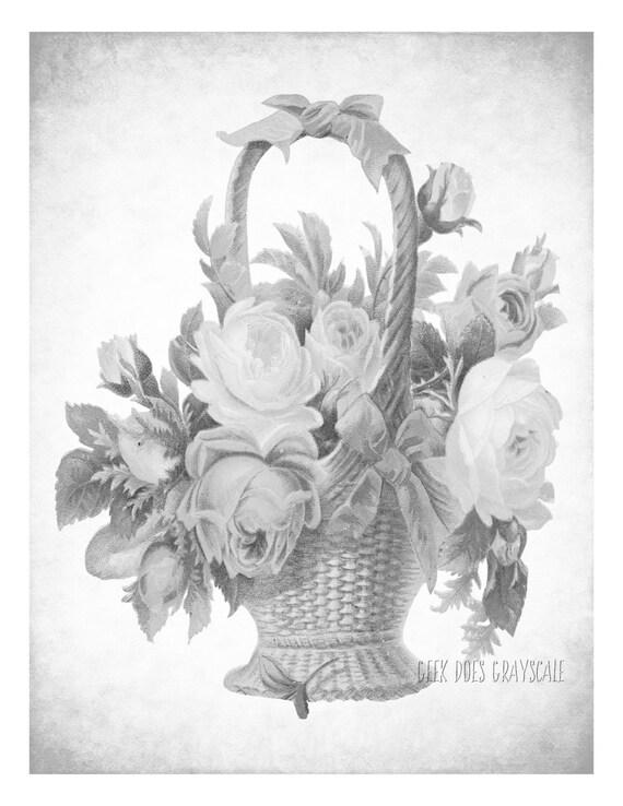 Blume Korb Graustufen Malvorlagen Erwachsenen Färbung