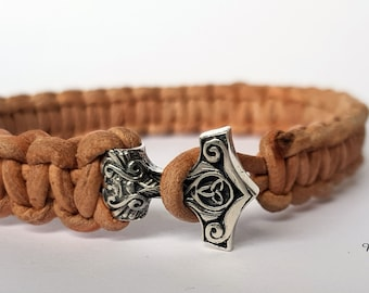 Braided leather bracelet with 925 sterling silver Mjöllnir/Thors Hammer