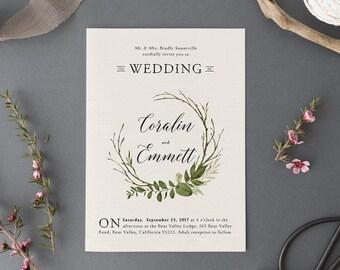 Woodland Watercolor Wedding Invitation Set,Printable Forest Wedding Suite,Nature Wedding,Outdoor Wedding Invites,Green Leaves Garden Wedding