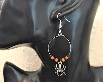 Halloween earrings, Spider earrings, Halloween hoop earrings item 735 by CraftyLittleMonkeyGB