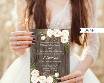 Rustic Wedding Invitation Template, Wedding Invitation Suite, Floral Wedding Set, White Flowers, A052-C, Instant Download, Editable PDF