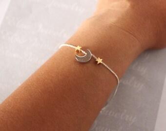MOON  STAR Bracelet - Gold Silver Moon Star, Add more Stars.Crescent Moon Star Bracelet,new moon bracelet,minimalist jewelry,dainty simple.
