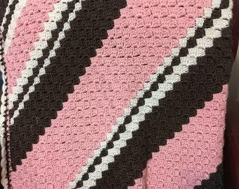 Handmade Crochet Lap Size Throw Blanket, Child/Baby Blanket