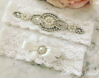 Ivory Lace Garter Set - Rhinestone Wedding Garter - Pearl Garter - Toss Garter - Bridal Garter - Wedding Garter Belt - Keepsake Garter