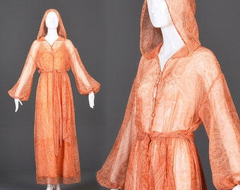 Large Flowy Bohemian Dress Sheer Boho Dress Hood Long Sleeve Cover Up Beach Dress Wedding Bridal Vintage 1970s 70s