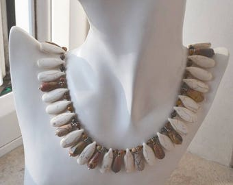 Statement Earthy Tribal Style Stone Collar Necklace