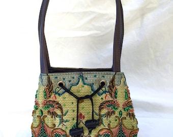 SUMMER SALE! Hand-Beaded Silk Handbag