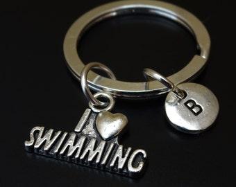 I love Swimming Keychain, Custom Keychain, Custom Key Ring, I love Swimming Charm, Swim Keychain, Swimmer Keychain, Swim Team, Swim Coach