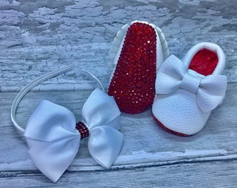 White Red Sole Baby Sparkly Sole Moccasin Pram Shoes and Matching Hairband - bows - Like Mummy's Louboutins but Designer Inspired!