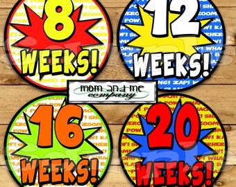 14 Super hero Pregnancy Stickers Belly Stickers Weekly Stickers Pregnancy Photo Prop Belly Bump Stickers Maternity Stickers Includes bonus
