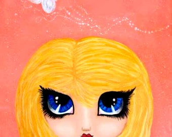 Believe - Whimsical Blonde Girl with Big Eyes Acrylic Art Print by Tina Chapman 5x7