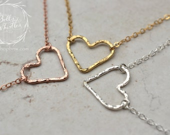 Heart Necklace, Love Necklace, Gold heart necklace, Rose Gold necklace, Delicate Necklace, gift for mom, gift for her