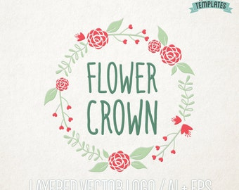 Flower Crown Logo Design,  Vector Logo, Hand Drawn Logo, Premium Logo, Logo Template, Business Branding, Boutique Logo, Business Logo
