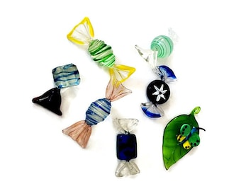Vintage Set of 6 Large Murano Candies/ Free  Italian Glass Butterfly/  Decorative Italian Glass Decoration