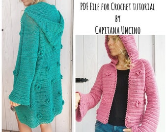 PDF-file for Crochet PATTERN, Adaline Cardigan, 3 different Sizes: XS-L, Tutorial, adjustable length