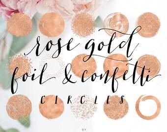 Rose Gold Foil & Confetti Circles - Circle Brush Strokes Clipart - Rose Gold Foil Clip Art -  by Indie Grace Design