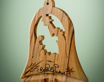 C01/Olive wood ornament/ hand carved Christmas tree ornament/Bethlehem/Holy land